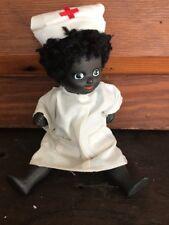 """Vintage Black Bisque Porcelain African American Jointed Doll NURSE 6"""""""