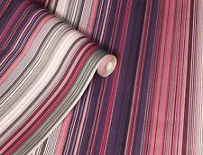 Unusual Pink, Purple, Black & Silver, Fine Stripe Wallpaper