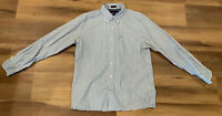 Tommy Hilfiger Large Blue Striped Cotton Button Down