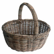 Best Quality Classic Oval Grey Rattan Wicker Shopping Basket