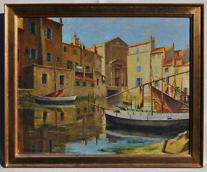 """J.Fontaine, Peinture Hsp """"Barques de pêche Port Méditerranéen"""" daté de 1936"""