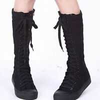 Women Canvas Lace Up Knee High Boots Sneakers Flat Casual Punk Boots Sport Shoes