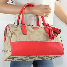 NEW Coach Legacy Signature Haley Satchel Bag 23575 Khaki Coral Red RARE