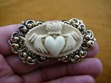 (CM38-78) traditional CLADDAGH heart hands off-white CAMEO brass Pin Pendant