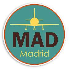 2 x 10cm MAD Madrid Airport Vinyl Stickers - Spain Travel Luggage Sticker #31119