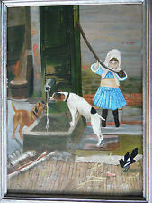 Portrait Little Girl and 2 Dogs Terriers at Waterpump. 1880s Naive Oil E C Baty.