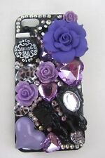 Phone Case ANNA SUI Design flower, iPhone 5 / 5S, bling, Purple, Black & White