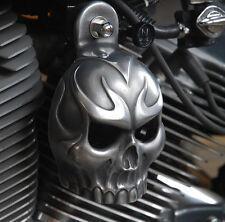 Skull Horn Cover. Evil Twin Skull in Aged aluminum.  Harely Davidson. SKU-ETA-1