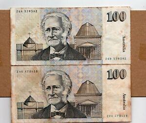 AUSTRALIA BANKNOTE, 2 PCS 100 AUSTRALIAN DOLLAR 1990 VF STAINS