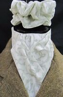 Ready Tied Ivory & Olive Green Swirl Cotton Riding Stock & Scrunchie - Hunt Tie