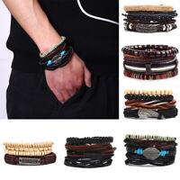 Vintage Leaf Feather Multilayer Leather Bracelet Men Braided Handmade Jewelry CJ