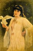 Oil painting emile eisman semenowsky - girl holding a dove bird in landscape art