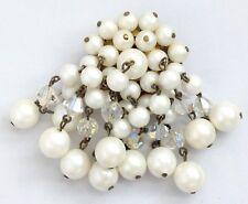 broche ancienne pampilles perles nacrées blanches et cristal à reflet 300