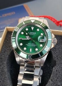 ROLEX HOMAGE Loreo Diver Watch Submariner Auto 200M Hulk Green Dial Sapphire UK