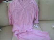 Lauren Pink & White Paisley Cotton Knit Lounge Classic Pajamas NWT 3X $72