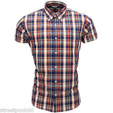 Relco Mens Navy Cream Check Short Sleeved Shirt Mod Skin Retro Indie 60s 70s