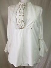 Hoss Intropia Ruffled Tunic Blouse Sz 38 6 Solid White Flared Split Cuffs Cotton