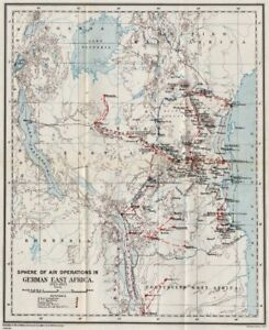 FIRST WORLD WAR.Air Operations in German East Africa,1915-1917.Tanzania 1931 map