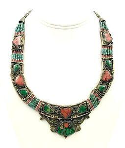 Nepal Tibetan Bib Necklace Turquoise Nepalese Ethnic Coral Handmade Jewelry Boho
