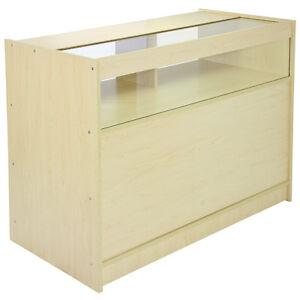 Shop Counter Retail Display Reception Desk Storage Glass Showcase Cabinet