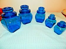Blue Glass Canister Apothecary Style Jars Five Piece Set