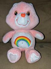 Care Bears Pink Cheer Rainbow Tummy Heart 8� Plush 2002
