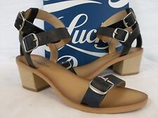 Lucky Brand Size 7.5 M Iness Black Leather Heels New Womens Shoes Sandals