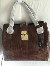 DKNY Ladies SHOULDER BAG  ALLOVER CROCO LEATHER PUSH LOCK Brown Colour