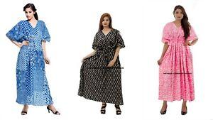 3 PC Combo Women Fashion Kaftan Ikat Cotton Beach Cover Indian Long Gown Maxi