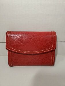 """Coach Small Red Leather Coin Purse Key Chain Wallet Vintage, 4.5X3.75"""" Snap"""