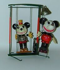 Mickey Minnie Mouse Celluloid Figures On Mechanical Playground Swing 1930s Japan