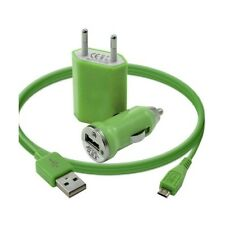 Mini Chargeur 3en1 Auto Et Secteur Usb Avec Câble Data Vert pour LG : BL20 New C