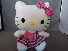 "Hello Kitty in Pink Tartan Dress TY Original Beanie Baby Tush Tag 2009 6"" Tall"