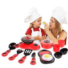 11Pcs Set Kitchen Utensils Pots Cooking Pans Food Dishes Cookware Kid Toy Red