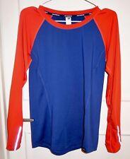 J.Crew New Balance Long Sleeve Running Exercise T-Shirt Top Orange Blue M EUC