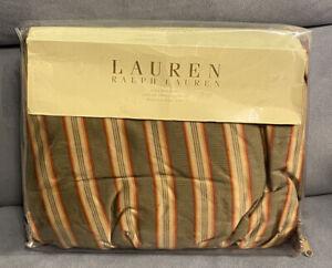 627 Ralph Lauren Cape Catherine Gold   Green Stripe  KING Bedskirt  Dust Ruffle