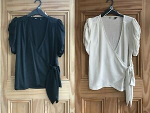 Ladies F&F Brand New Black Cream White Textured Ruched Wrap Tie Top Size 6 - 22