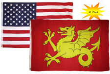 3x5 3'x5' Wholesale Set (2 Pack) Usa American & Wessex Dragon Flag Banner