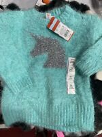 CAT AND JACK TEAL UNICORN SWEATER SIZE 2T