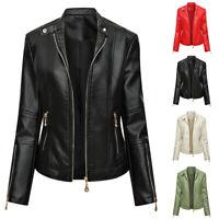 Women's Fashion Motorcycle Coat PU Leather Jacket Slim fit Biker Jacket Outwear