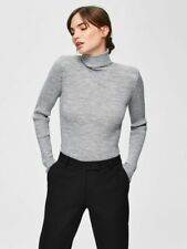 Selected Femme Roll Neck Ribbed Wool Mix Jumper - Medium (UK 10)