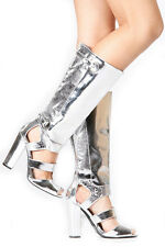 New silver Knee High Heel peep toe strappy gladiator cutout Sandals boots Sz 6