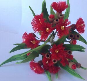 edible AUSTRALIAN GUM EUCALYPTUS FLOWERS & LEAVES SPRAY cake topper decoration