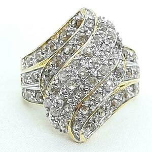 Genuine 2.60ctw H-SI Diamond 14K Yellow Gold 925 Sterling Silver Cocktail Ring