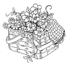 Unmounted Rubber Stamp, Picnic Basket, Basket of Flowers, Flower Stamps, Flowers