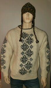 Marsh Landing heavy mens wool cable knit pull over sweater fisherman Nordic M