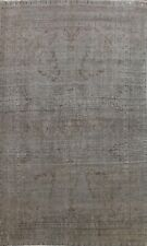 Overdyed Gray Semi Antique Traditional Distressed Hand-knotted Area Rug 10x12 ft