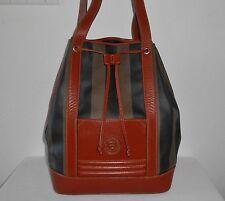 Fendi Pequin Stripe PVC Leather Shoulder Bag Drawstring Bucket Bag Large