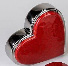 decorativo corazón hecho de cerámica rojo / PLATA 12x12 cm