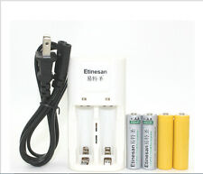 2PCS Etinesan 600MAH AA lithium rechargeable battery with dummy + AA AAA charger